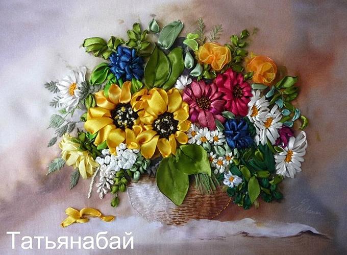 Вышивка лентами корзины цветов