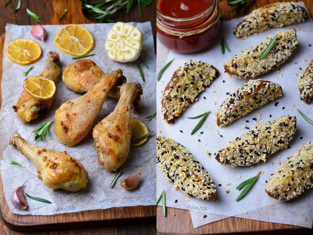 Куриные ножки с лимоном и чесноком и картофель в кунжутной панировке