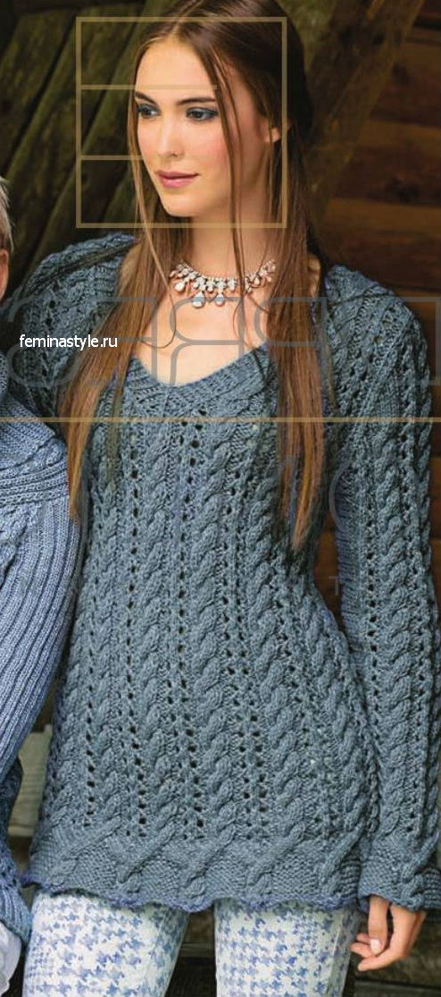 Ажурный пуловер с косами