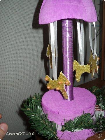 Мастер-класс Новый год Новогодняя карусель Бумага гофрированная Бутылки пластиковые Клей фото 11