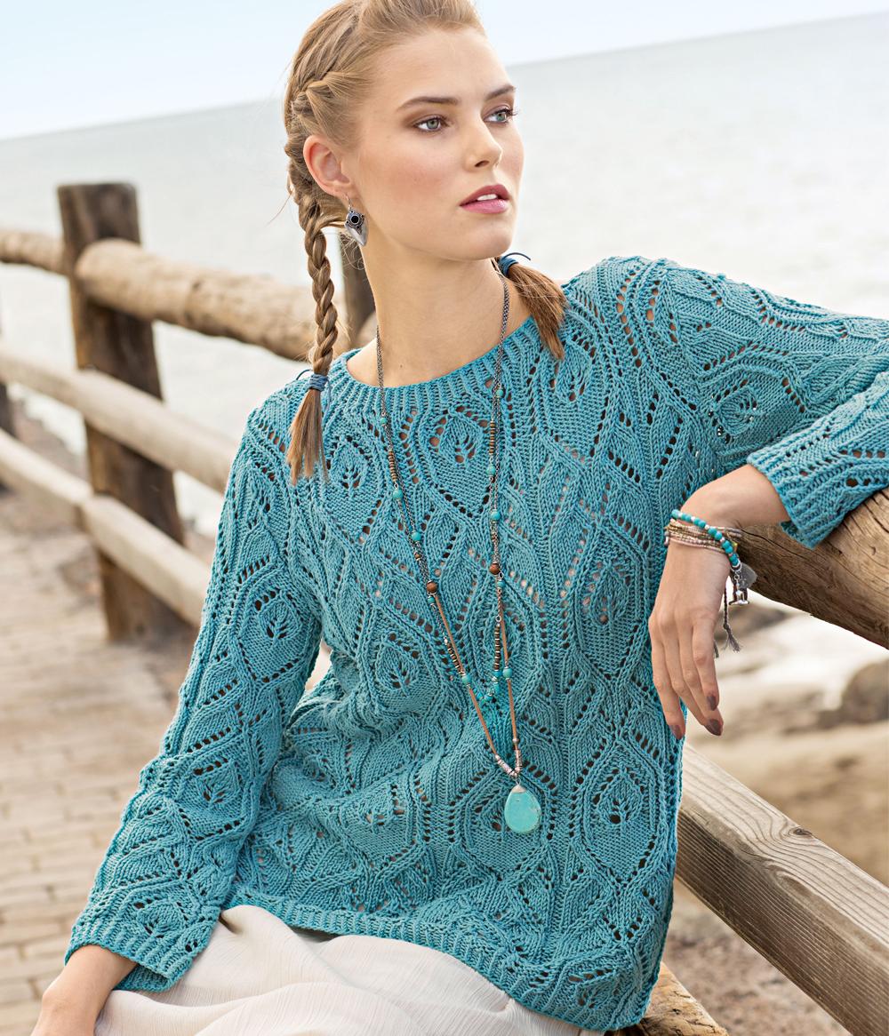 Пуловер с ажурными узорами 11