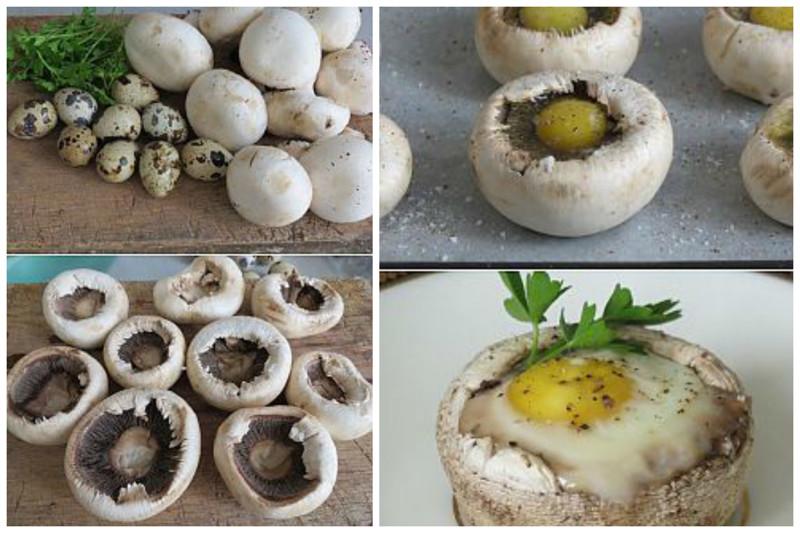 Яичница из перепелиных яиц в шампиньонах вкусно, грибы, интересное, красиво, познавательно, полезно, рецепты