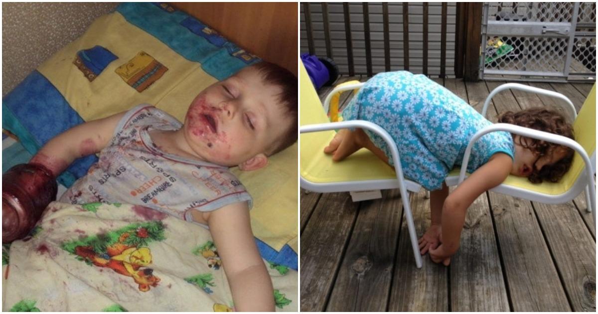 20 фото, которые доказывают, что дети могут заснуть где угодно