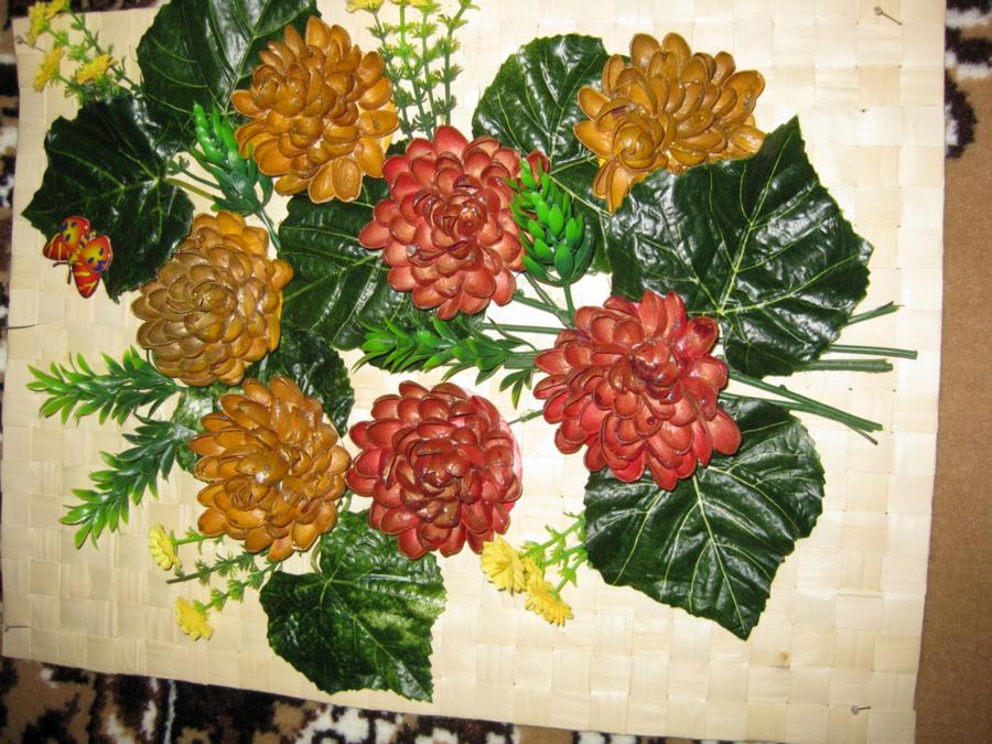 Цветы из желудей своими руками