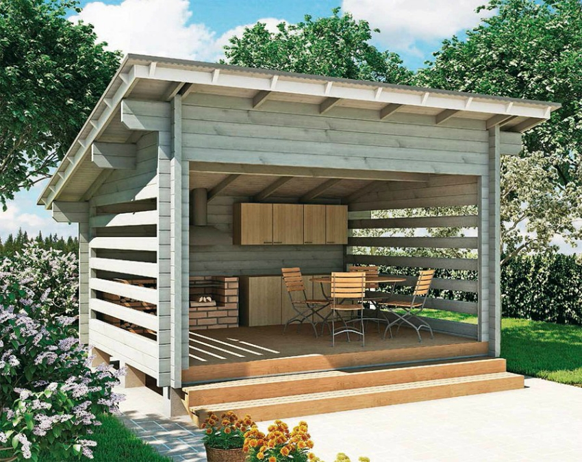 Проекты и фото летних кухонь для дачи 14