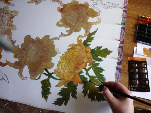 """Платок """"Шелковые хризантемы"""""""