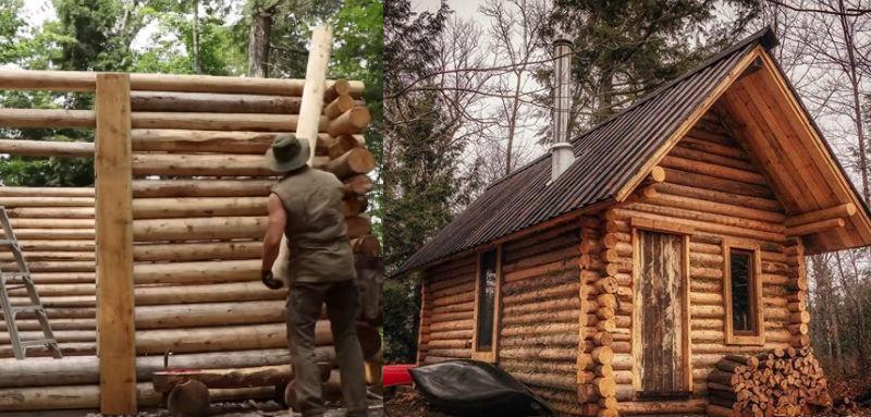 Канадец в одиночку без электричества построил бревенчатый дом, засняв весь процесс на видео