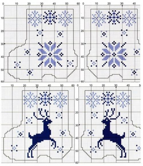 простая и удобная цветная схема для вышивки крестом, новогодние миниатюрные схемы, олени, снежинки, новогодние и рождественские носочки с вышивкой