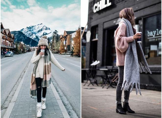Как способ утепления: 8 вариантов носить oversize шарф и не замерзнуть