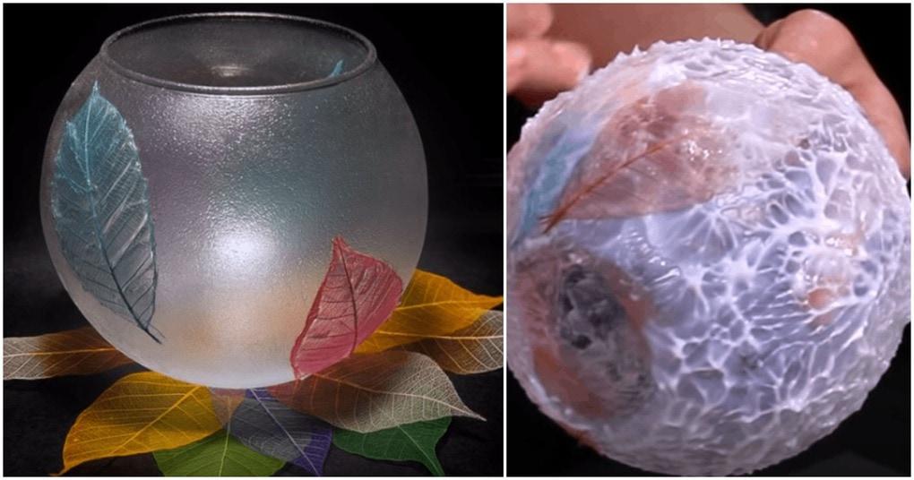 Стильная осенняя ваза с прозрачным моделирующим гелем