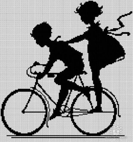 Вышивка черно-белая девушка и парень