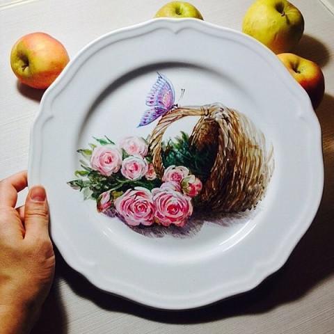 Удивительная роспись тарелок. Автор - Регина Абакумова