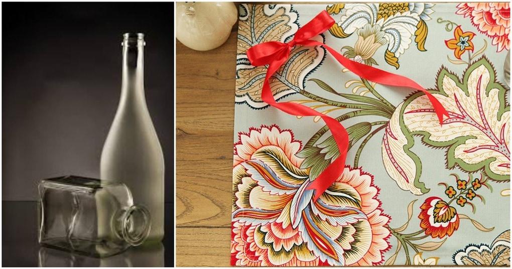 Нетривиальная техника декора: простая стеклянная бутылка + салфетка вас могут удивить