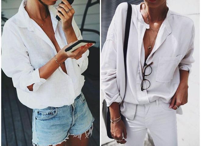 15 стильных способов носить белую рубашку летом