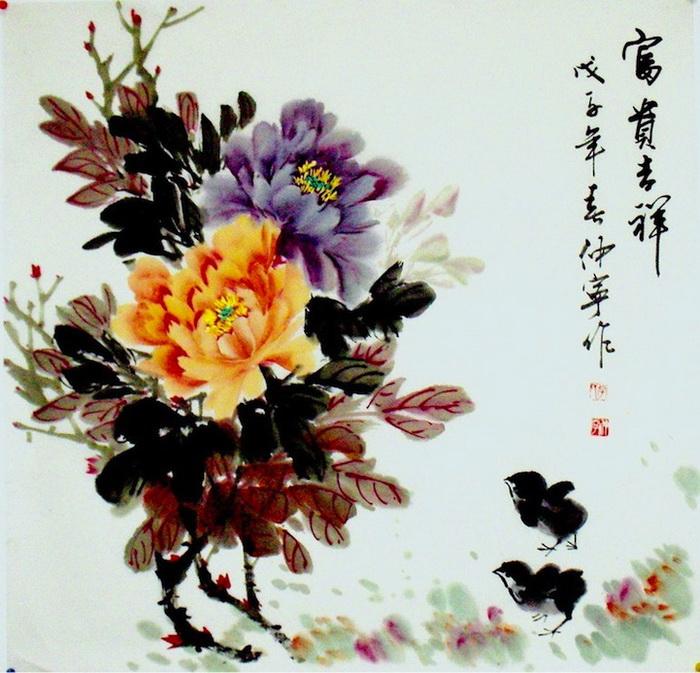 Традиционная китайская живопись — цветы и иероглифы на акварелях Chuan-Hong Li