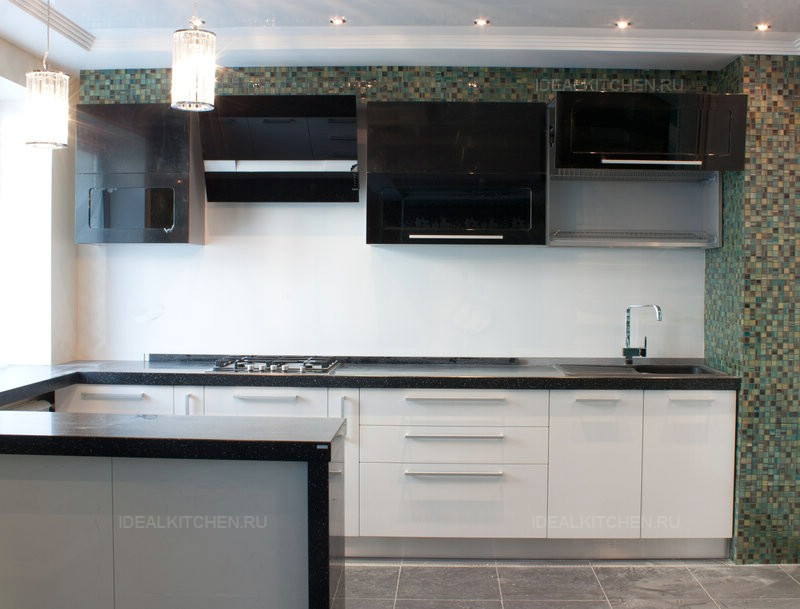 кухня в бело-черном цвете фото