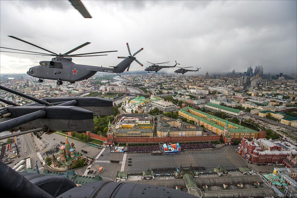 Генеральная репетиция Парада Победы и Москва с вертолета