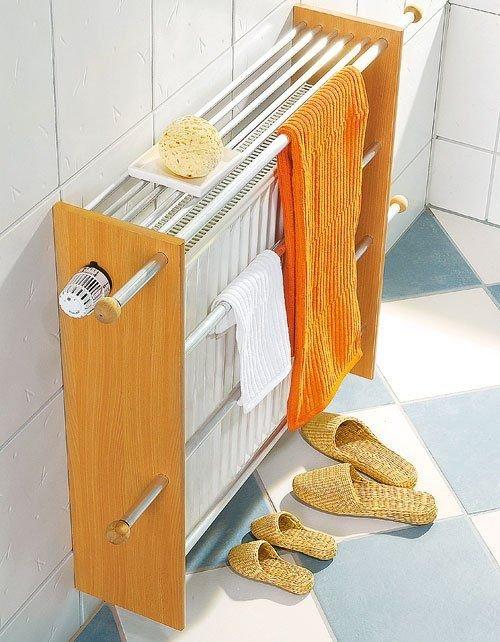 4. Также батарею в ванной комнате можно превратить в полноценную сушилку  интересно, своими руками, сделай сам, старая батарея, фото
