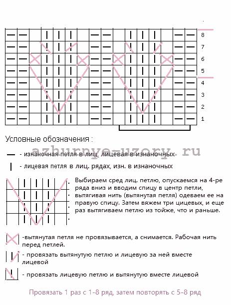 Колоски из вытянутых петель -схема