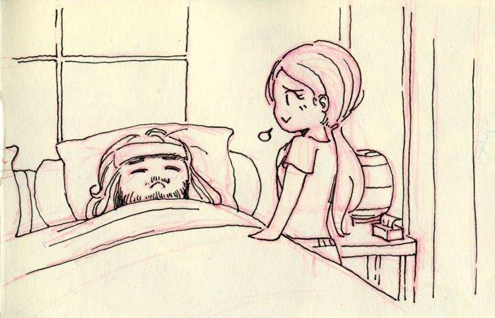 И снова простуда Любовь, история, комикс, любовь на расстоянии, рисунки, романтика, творчество, художник