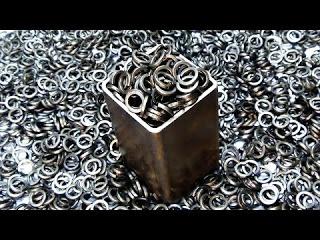 Дамасская сталь из шайб Гровера - клинок