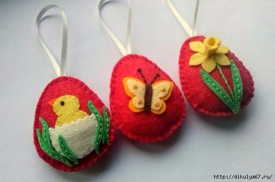 САМОДЕЛКИ. Пасхальные яйца из фетра - идеи и МК
