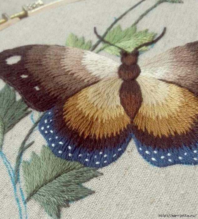 Вышивка гладью Бабочка (14) (632x700, 339Kb)