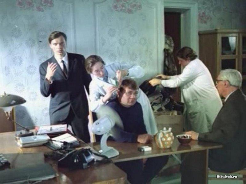 На съёмках фильма Джентльмены удачи, 1971 год история, люди, мир, фото