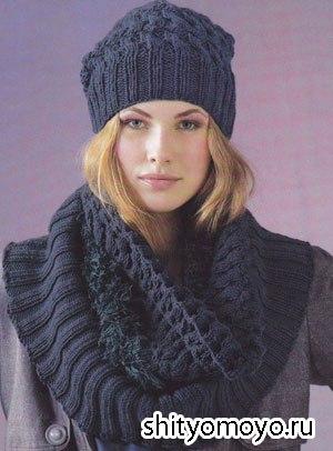 Шапочка и шарф снуд, связанные спицами