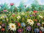 Современная живопись Полевые цветы. Картина маслом на холсте мастихином.