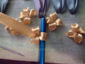 вышивка лепестков цветка