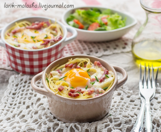 "Запеченные макароны с яйцом ""Карбонара"""