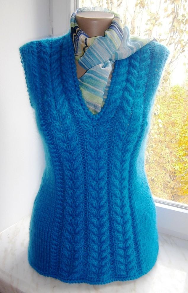 Вязание спицами женские жилеты 17