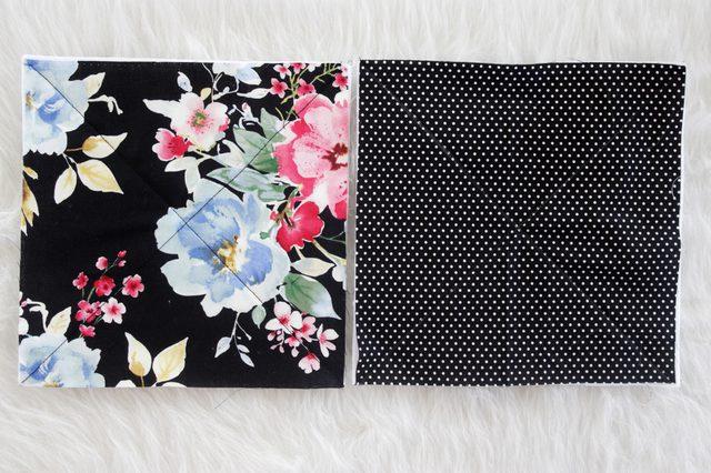 С помощью квадратов, сделанных из ткани, рукодельница сшила отличный аксессуар