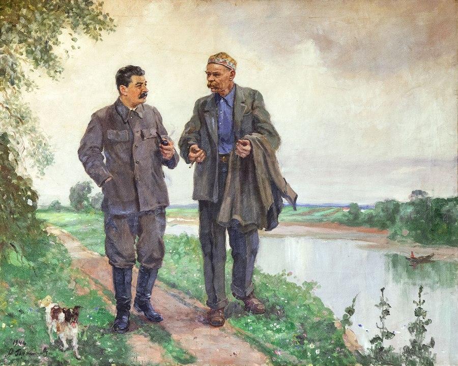 Сталин и Горький на прогулке...