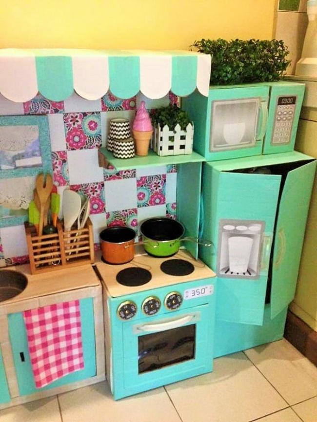 Детская кухня своими руками из коробок мастер класс