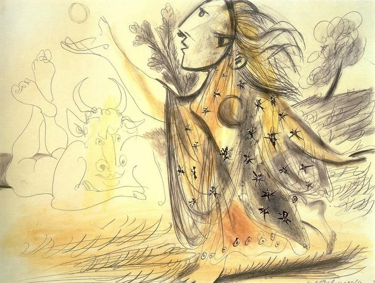 Пабло Пикассо. Композиция (Минотавр и женщина). 1936 год