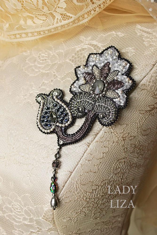 Вышиваем брошь «Ночной цветок» бисером и канителью