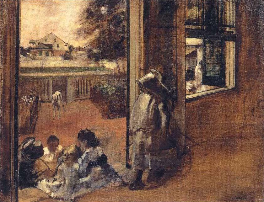 «Дети на крыльце» (Новый Орлеан). На этой картине изображен дом дяди художника, Мишеля Мюссона. Это одна из целого цикла работ, которые были написаны Дега во время поездки в Америку в 1872-1873 годах.