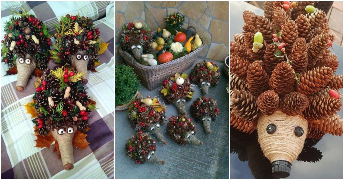 Осенние поделки: забавные ёжики из шишек, желудей и листьев