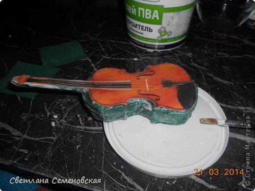 Мастер-класс Моделирование конструирование Скрипка Акварель Бумага Картон Клей фото 8