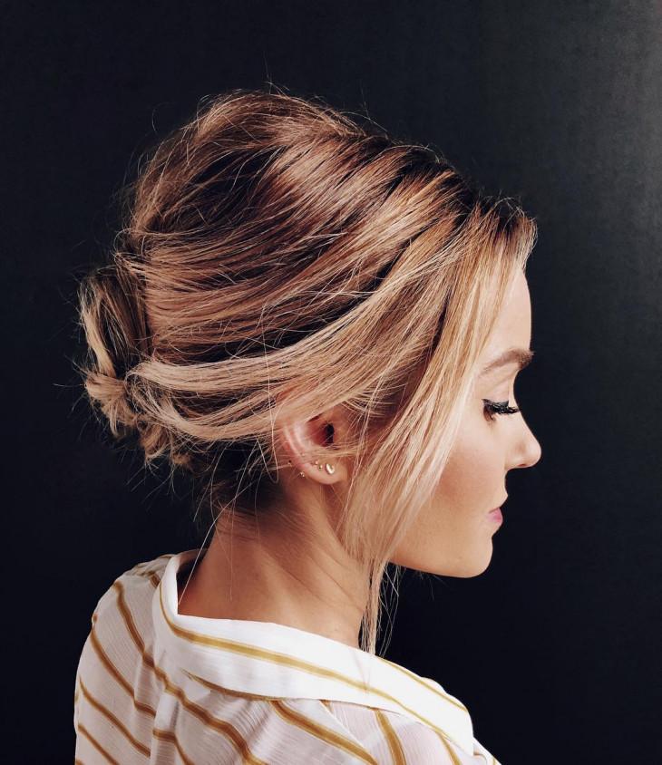 каре на длинные волосы в пучке