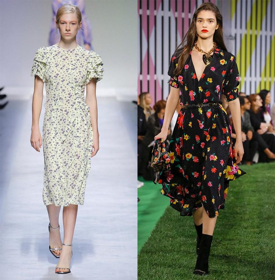 Цветочный принт на платьях