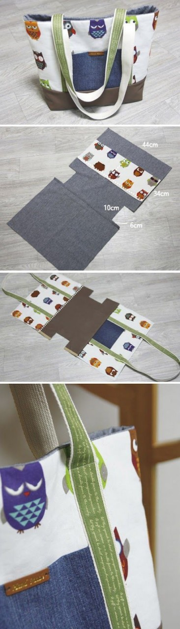 Easy Canvas Tote Bag with Pocket. Step by step DIY Tutorial. http://www.handmadiya.com/2015/11/diy-canvas-tote-bag.html: