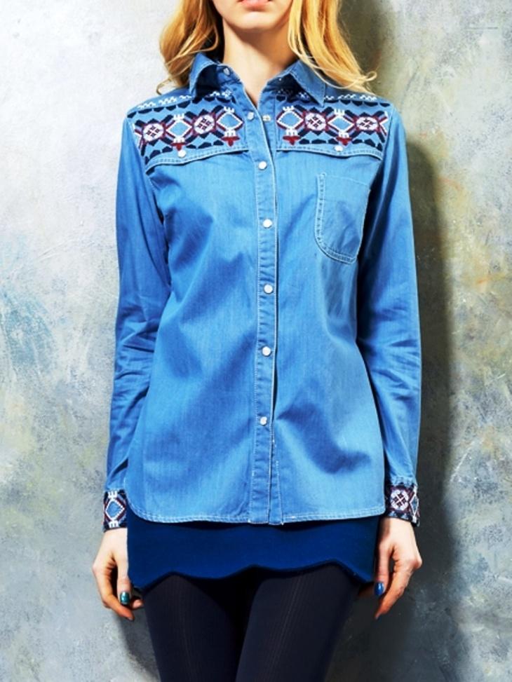 Джинсовая блузка своими руками
