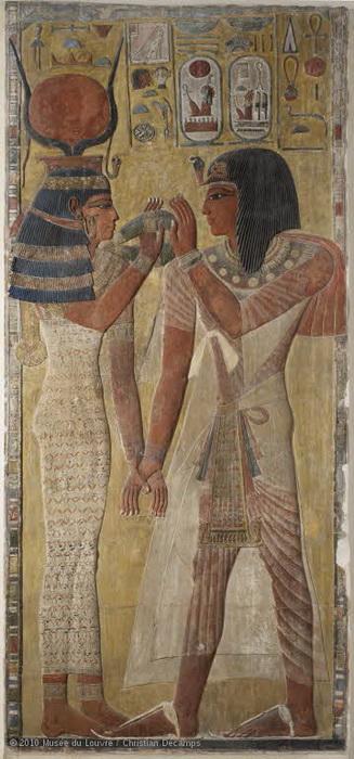 """Рельеф """"Богиня Хатхор и фараон Сети I"""". XIII в. до н.э."""