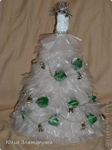 Декор предметов, Свит-дизайн Конструктор: еще одна ёлочка-бутылка. Мини МК Бусинки, Клей, Ткань Новый год. Фото 1