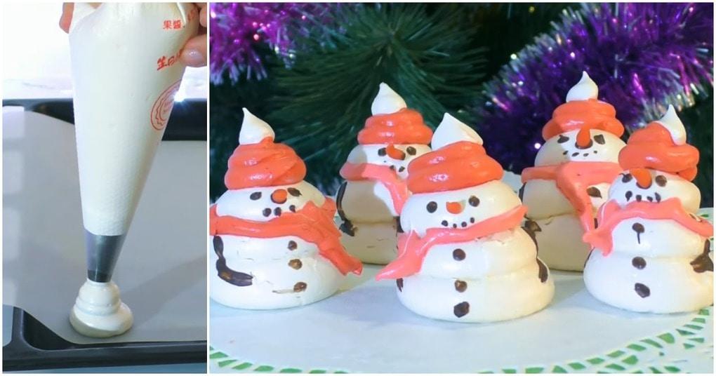 Безейные снеговики к новогоднему столу: вкусный креатив для сластен