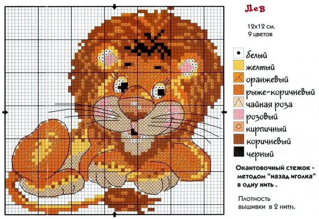 Схема для вышивки крестом львенок