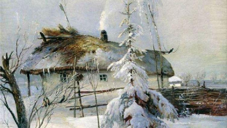 А. К. Саврасов, «Зима», фрагмент, 1873 г.